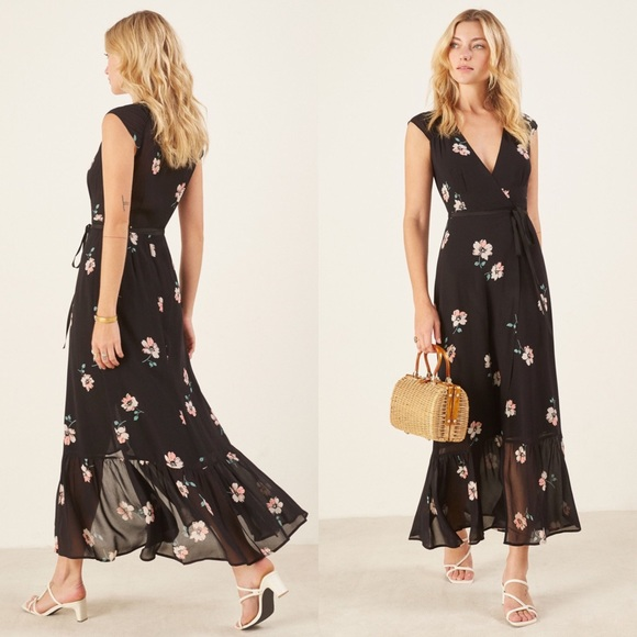 Reformation Dresses & Skirts - REFORMATION  Haven Black Floral Wrap Maxi Dress